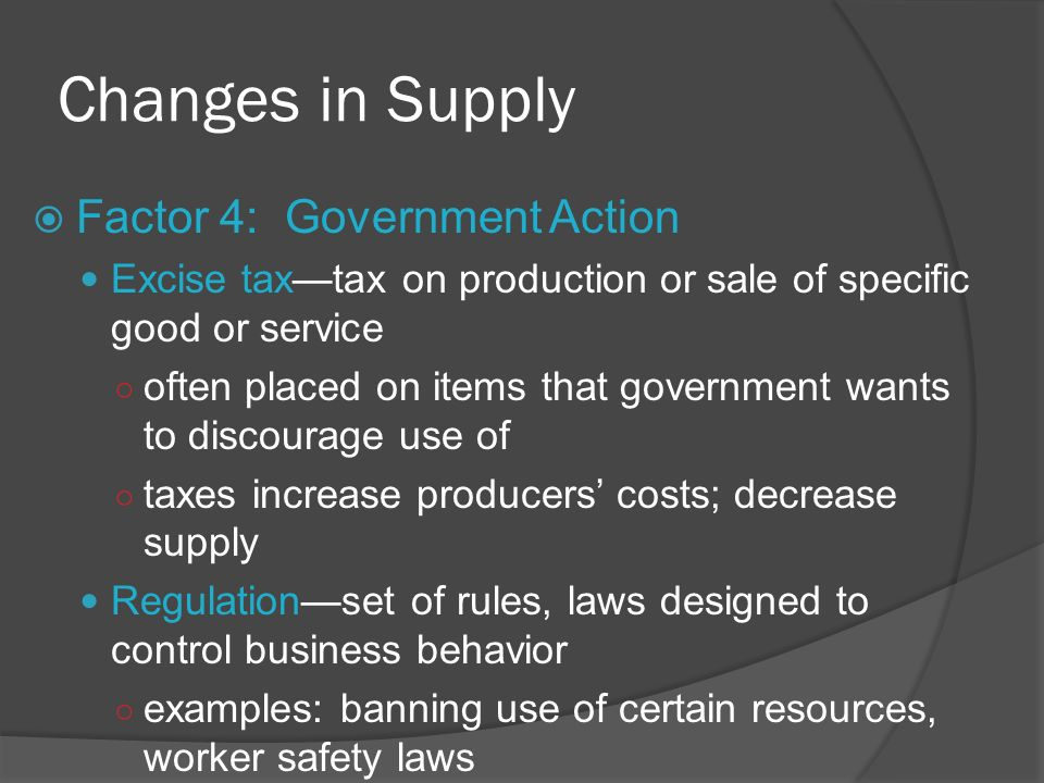 Changes in Supply Factor 4: Government Action