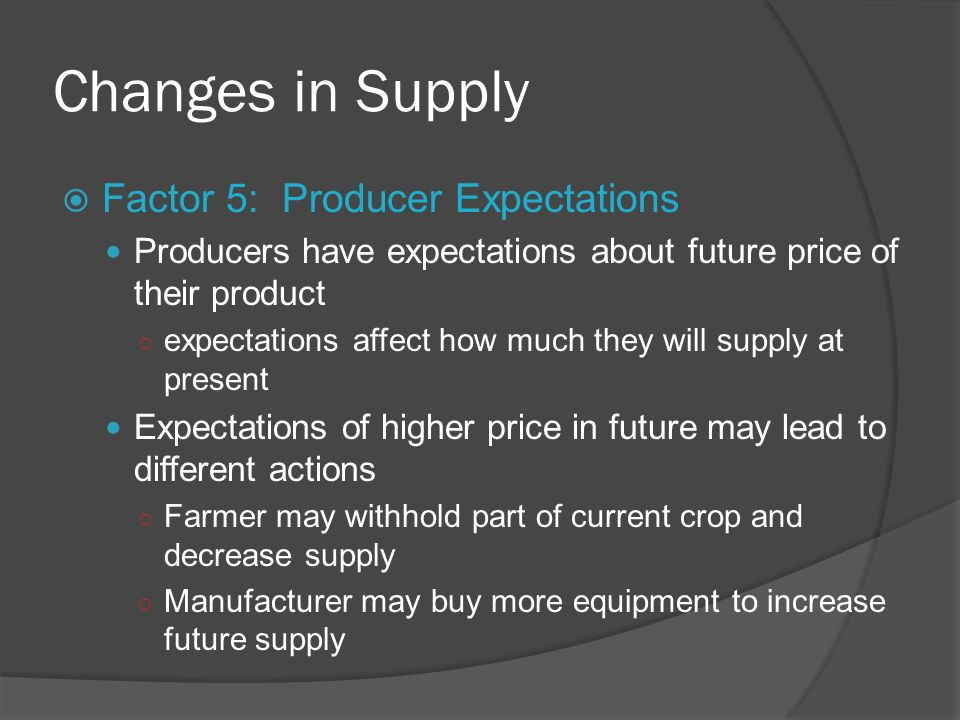 Changes in Supply Factor 5: Producer Expectations