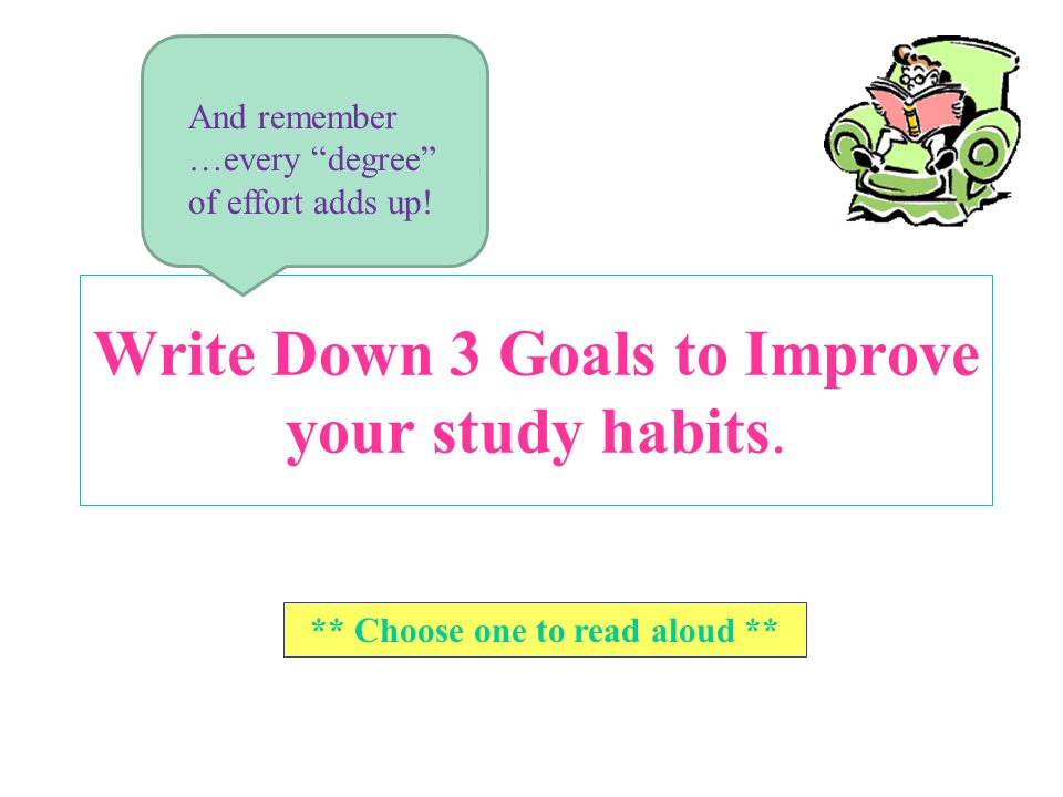 Write Down 3 Goals to Improve your study habits.