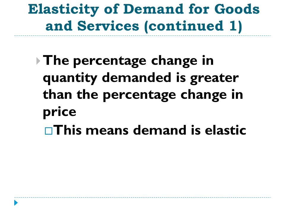 Elasticity of Demand for Goods and Services (continued 1)