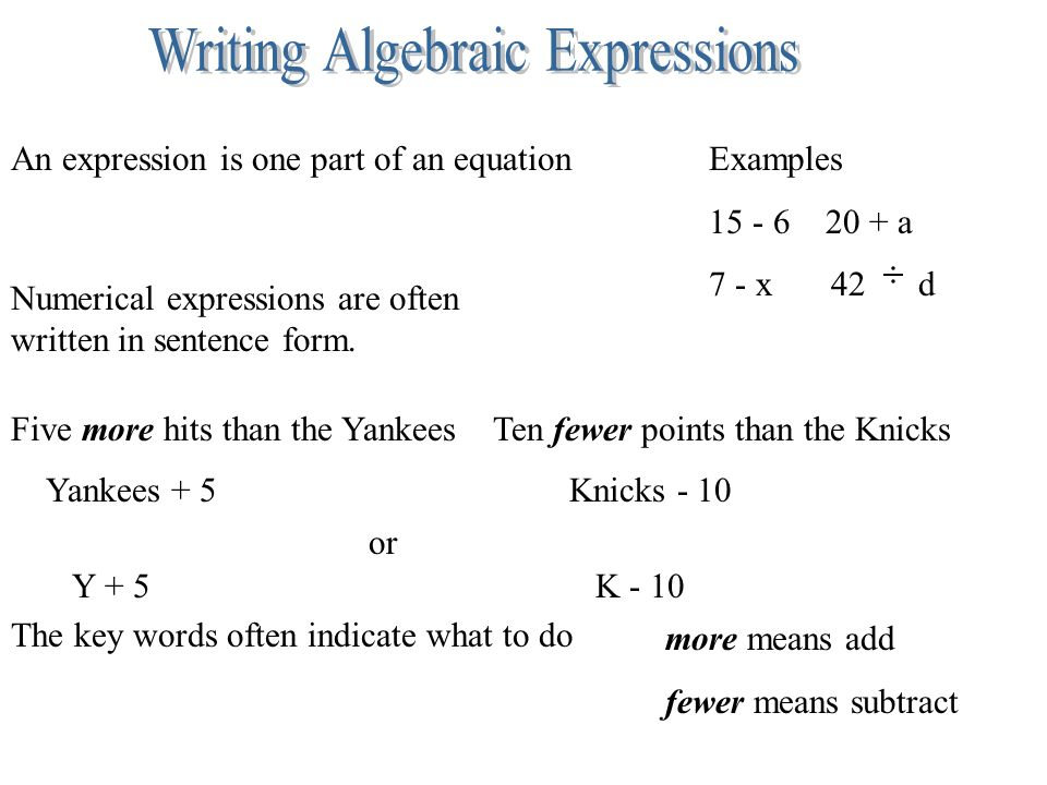 writing algebraic equations Is there a single method to teaching students how to write algebraic equations i  need help the first thing i do when trying to figure out how to teach something.