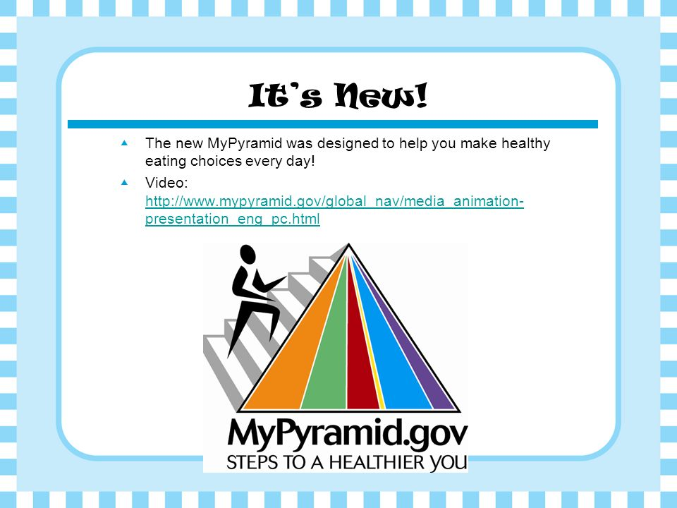 It's New! The new MyPyramid was designed to help you make healthy eating choices every day!