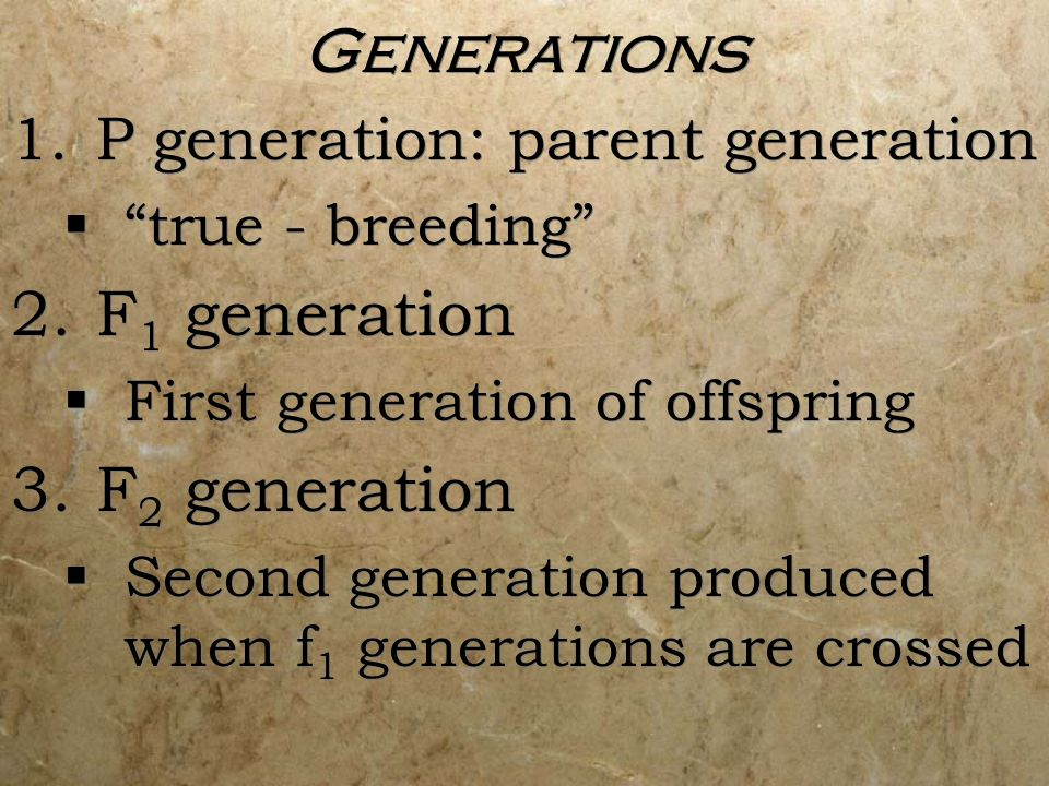 Generations F1 generation F2 generation