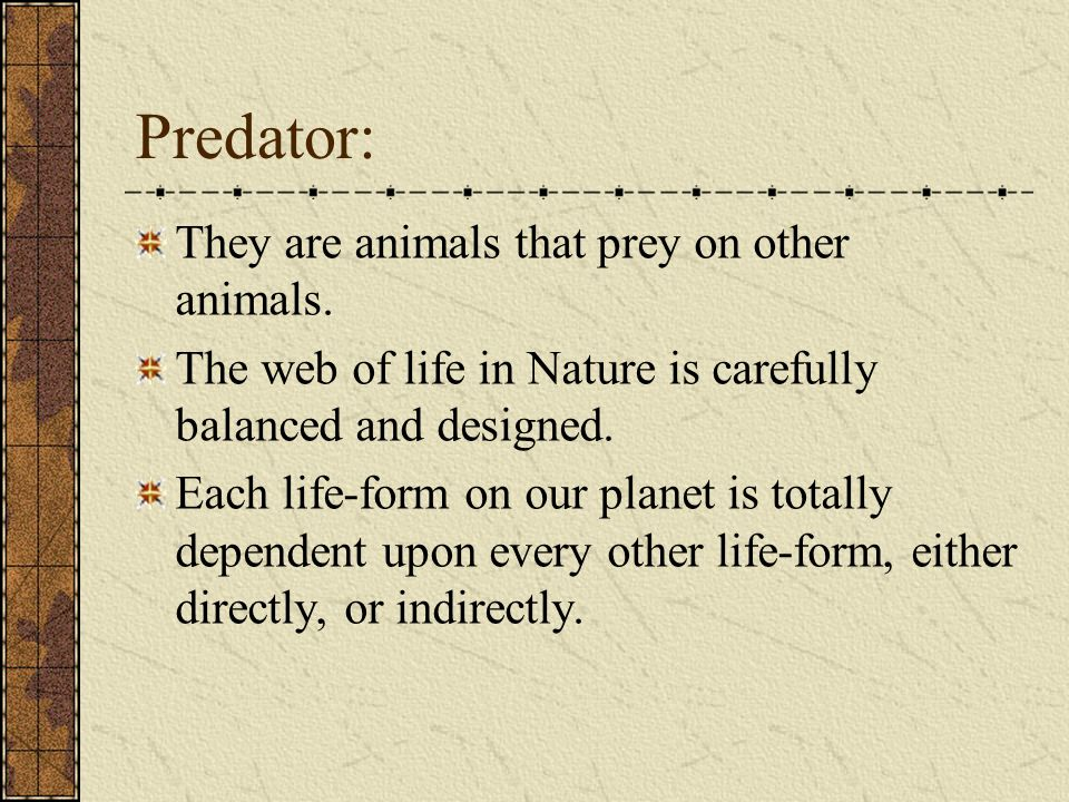 Predator: They are animals that prey on other animals.
