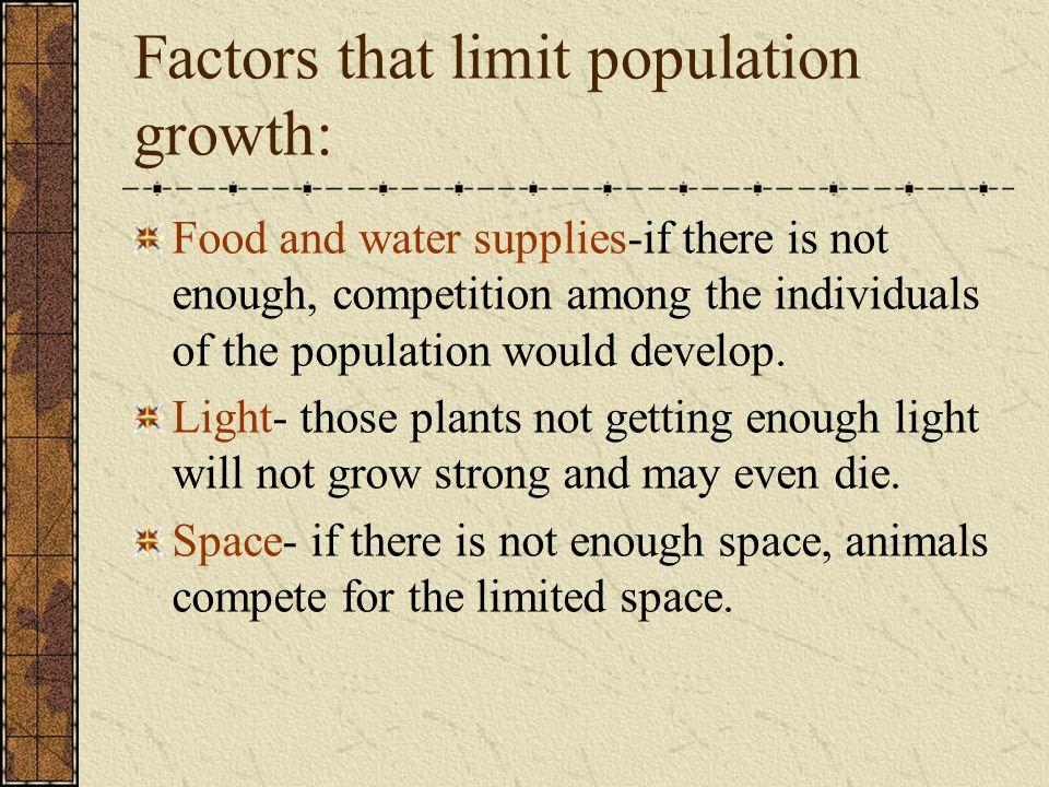 Factors that limit population growth:
