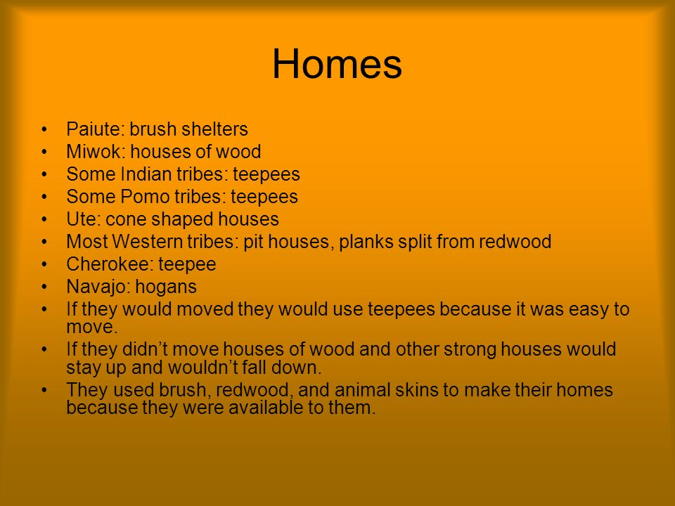 Homes Paiute: brush shelters Miwok: houses of wood