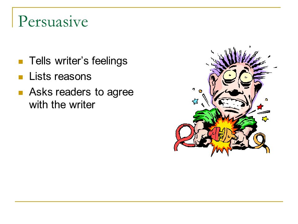 Persuasive Tells writer's feelings Lists reasons