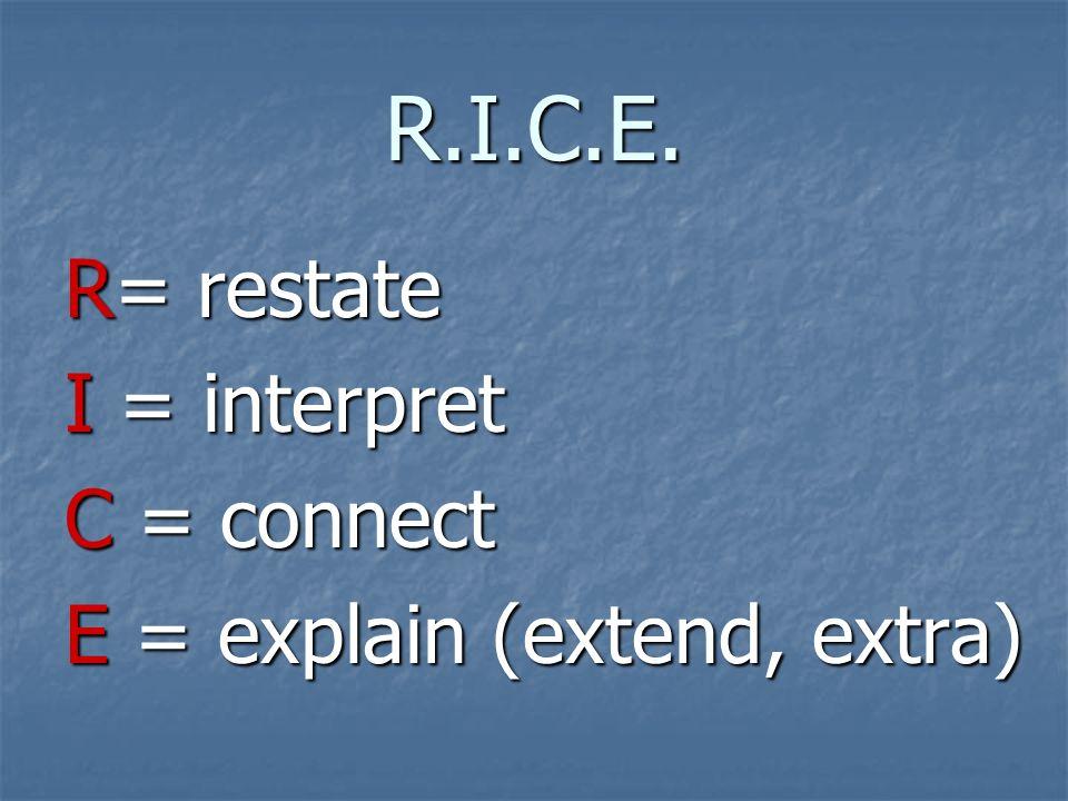 R.I.C.E. R= restate I = interpret C = connect