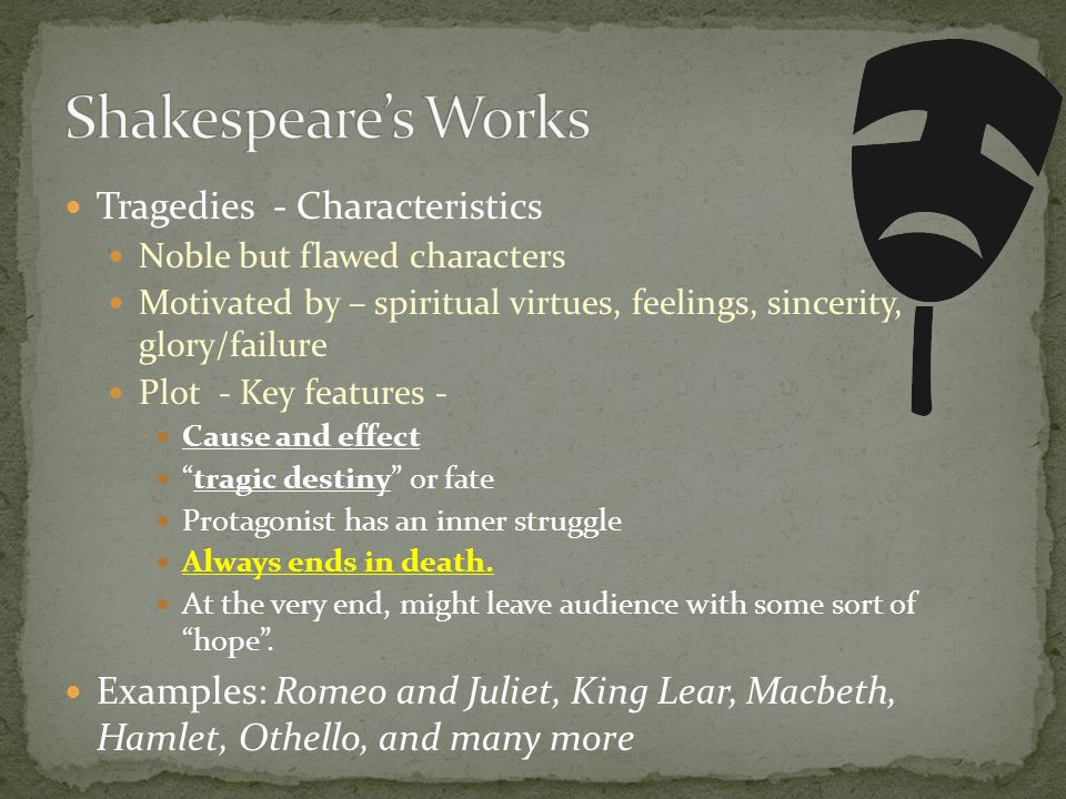 Shakespeare's Works Tragedies - Characteristics
