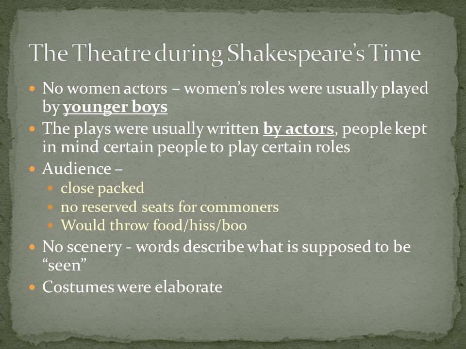 The Theatre during Shakespeare's Time