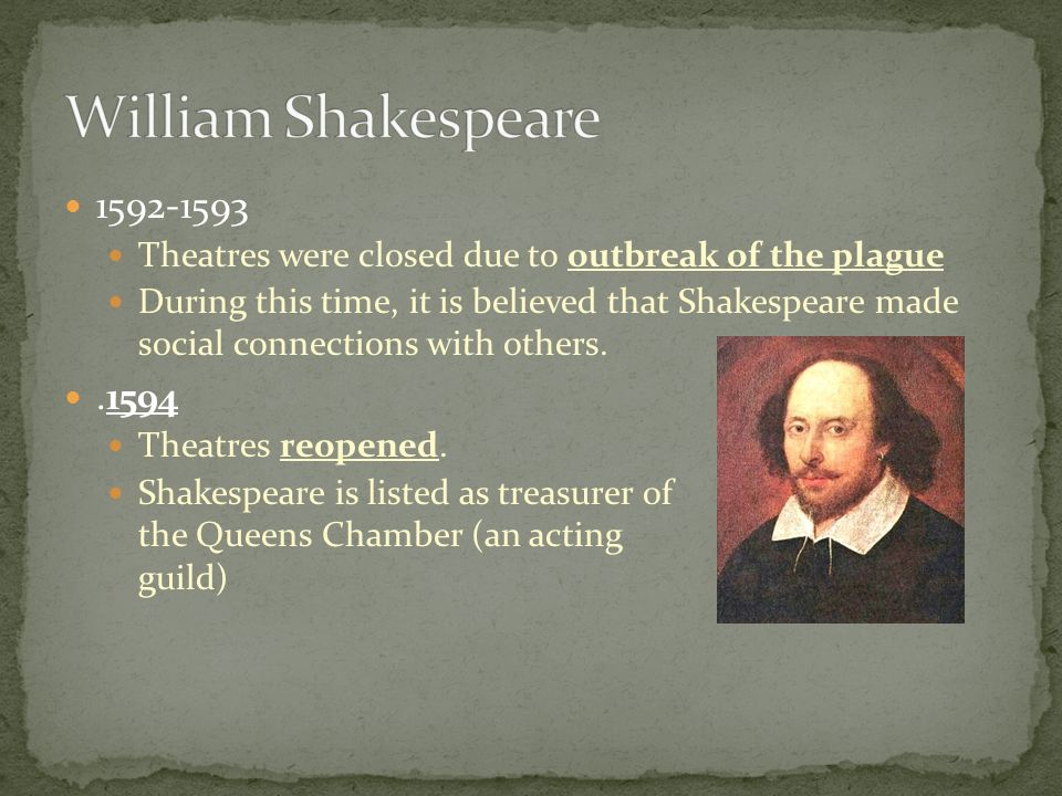 William Shakespeare 1592-1593. Theatres were closed due to outbreak of the plague.