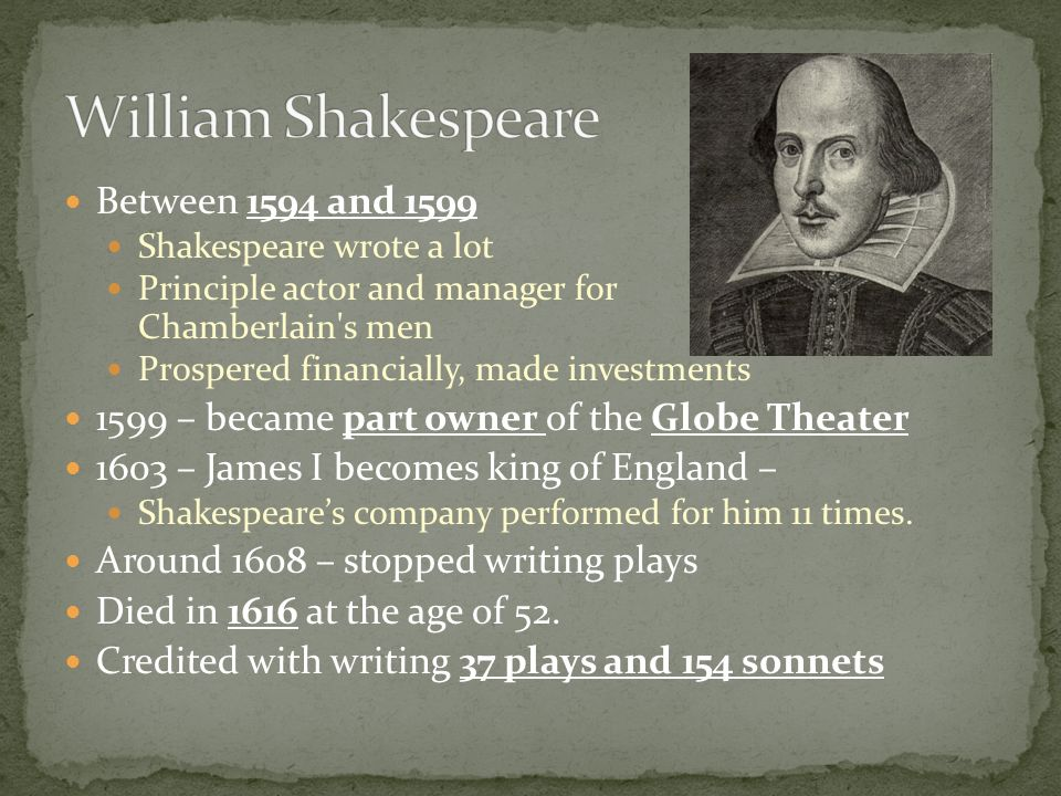 William Shakespeare Between 1594 and 1599