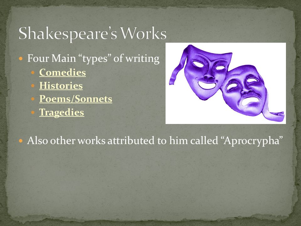 Shakespeare's Works Four Main types of writing
