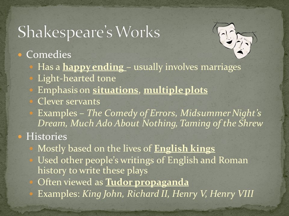 Shakespeare's Works Comedies Histories