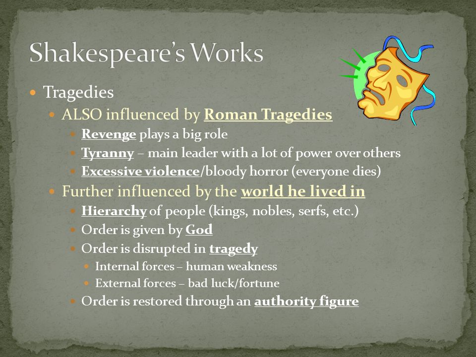 Shakespeare's Works Tragedies ALSO influenced by Roman Tragedies
