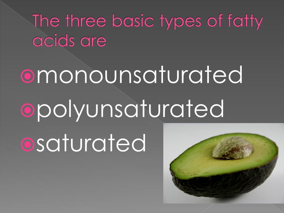 The three basic types of fatty acids are