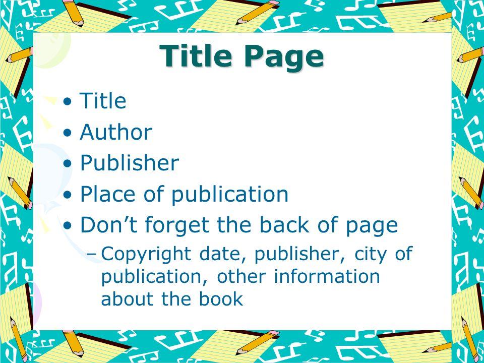 Title Page Title Author Publisher Place of publication