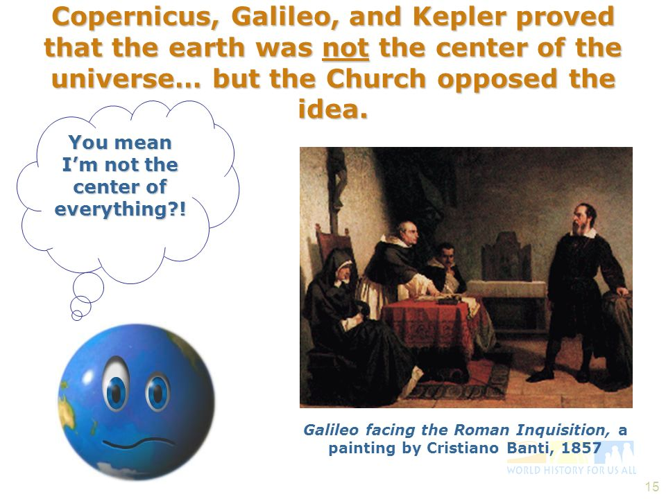 Copernicus, Galileo, and Kepler proved that the earth was not the center of the universe… but the Church opposed the idea.