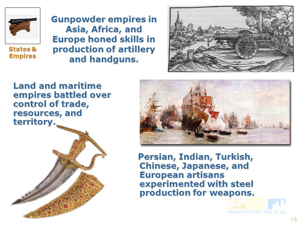 Slide 31 States & Empires. Gunpowder empires in Asia, Africa, and Europe honed skills in production of artillery and handguns.