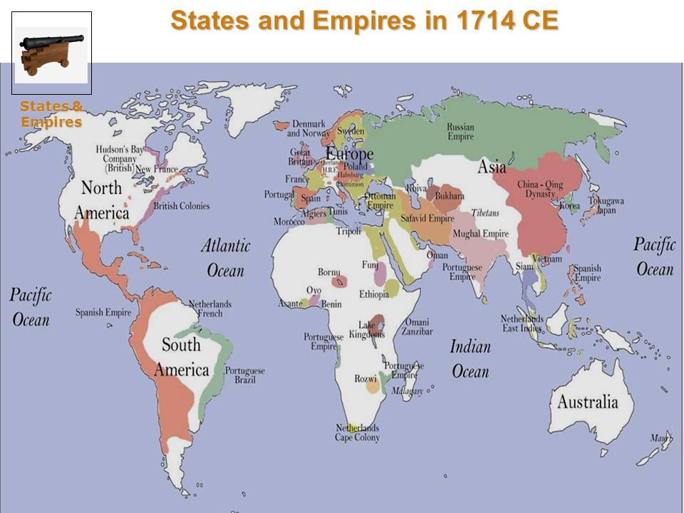 States and Empires in 1714 CE