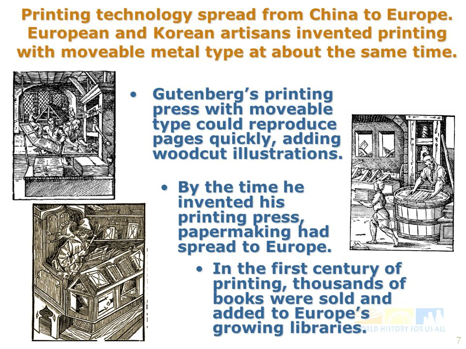 Printing technology spread from China to Europe