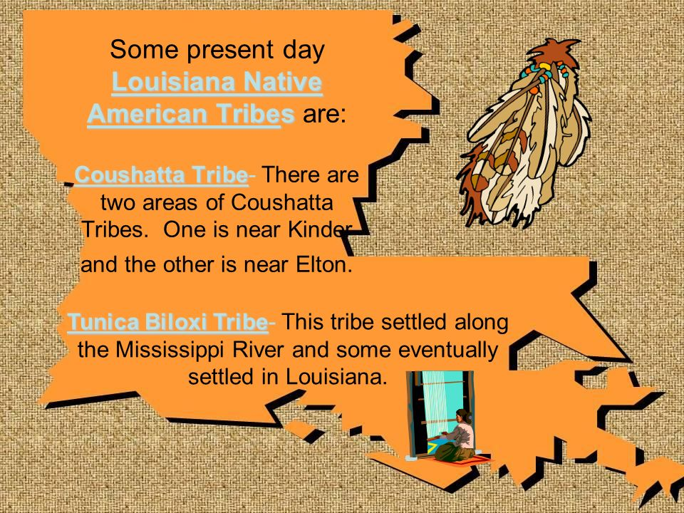 Some present day Louisiana Native American Tribes are: Coushatta Tribe- There are two areas of Coushatta Tribes. One is near Kinder and the other is near Elton.