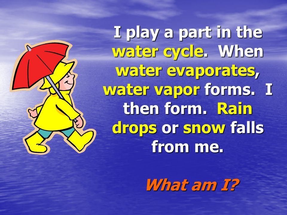 I play a part in the water cycle