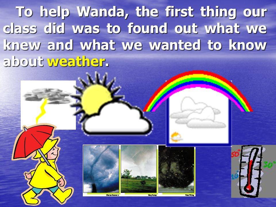 To help Wanda, the first thing our class did was to found out what we knew and what we wanted to know about weather.