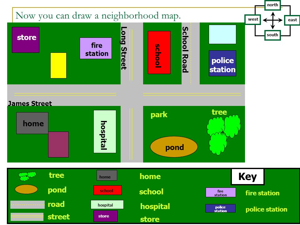 Now you can draw a neighborhood map.