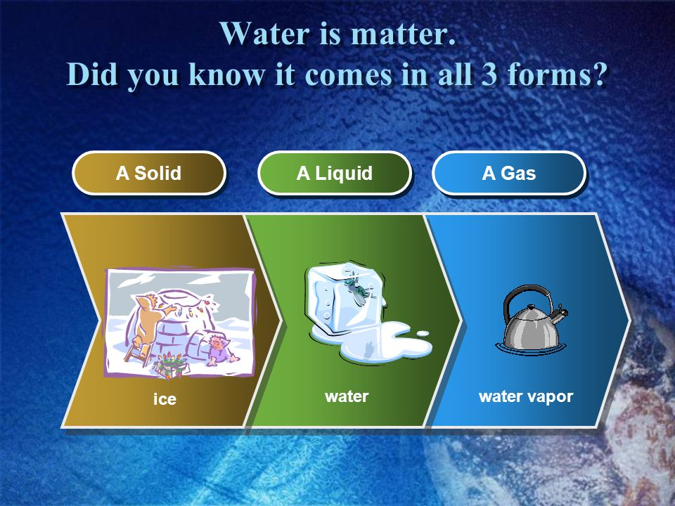 Water is matter. Did you know it comes in all 3 forms