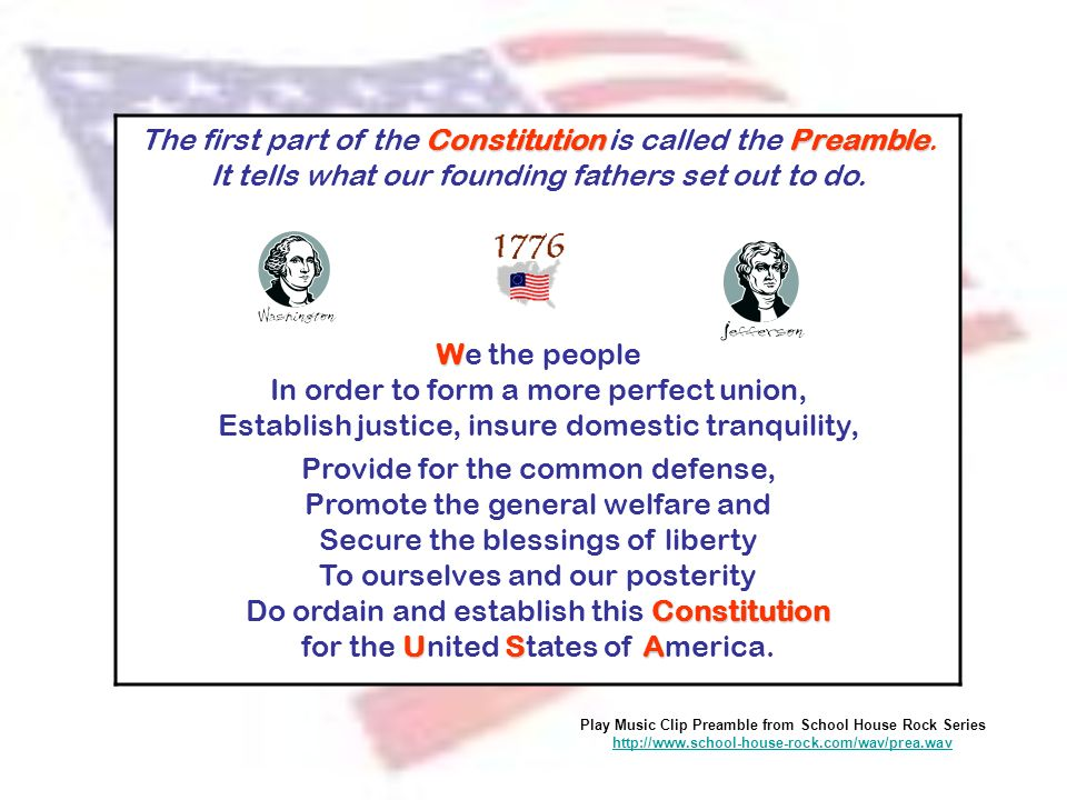 The first part of the Constitution is called the Preamble