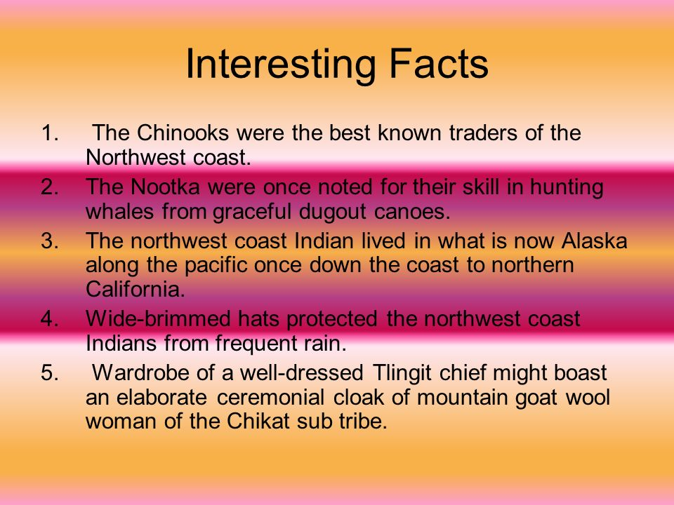 Interesting Facts The Chinooks were the best known traders of the Northwest coast.