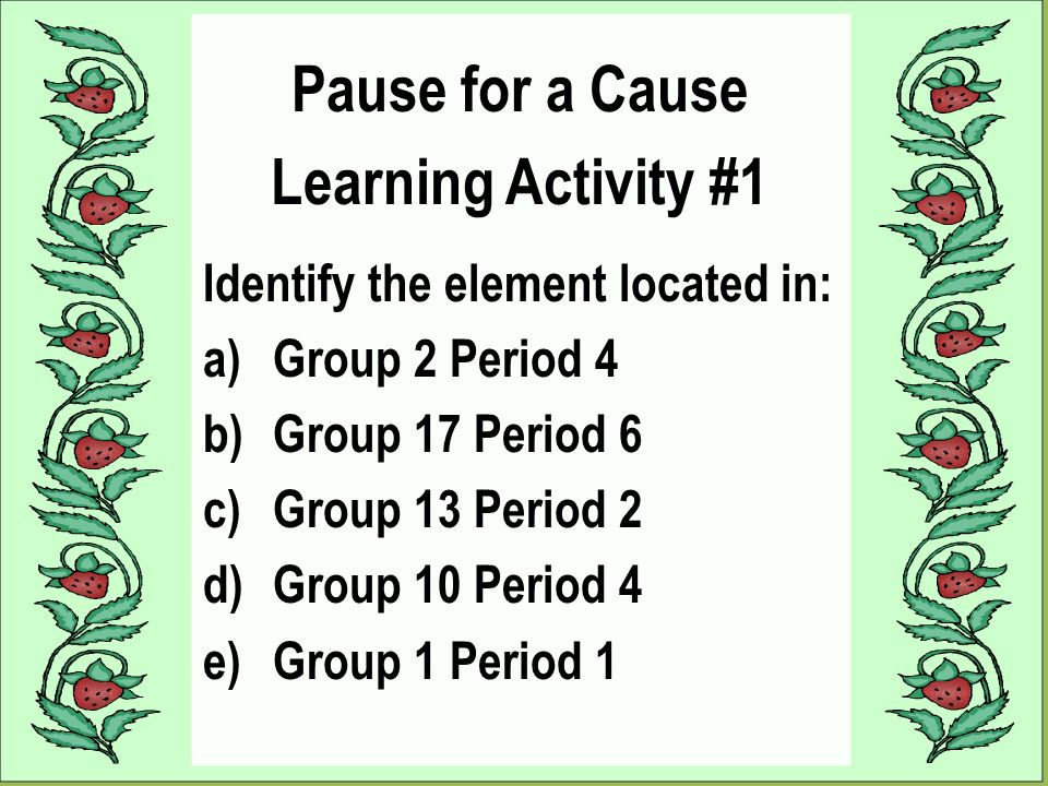 Metals the periodic table nonmetals metalloids period group ppt pause for a cause learning activity 1 urtaz Choice Image
