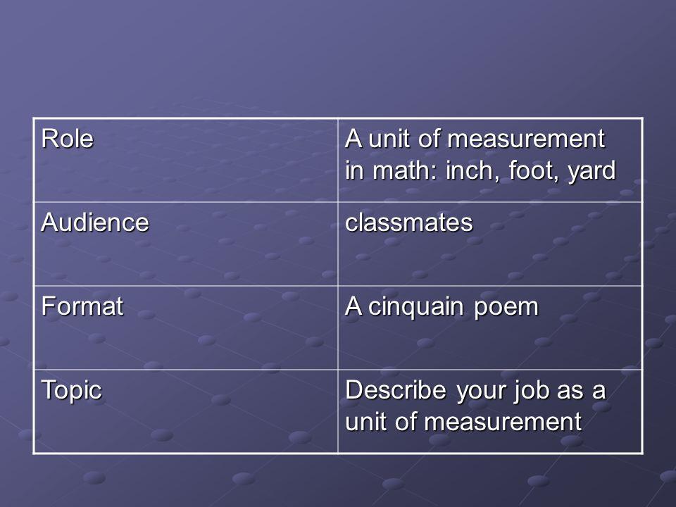 Role A unit of measurement in math: inch, foot, yard. Audience. classmates. Format. A cinquain poem.