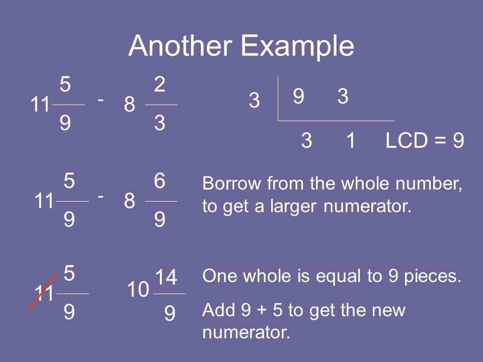 Another Example 5. 9. 2. 3. 9. 3. - 3. 11. 8. 3. 1. LCD = 9. 5. 9. 6. 9. Borrow from the whole number, to get a larger numerator.