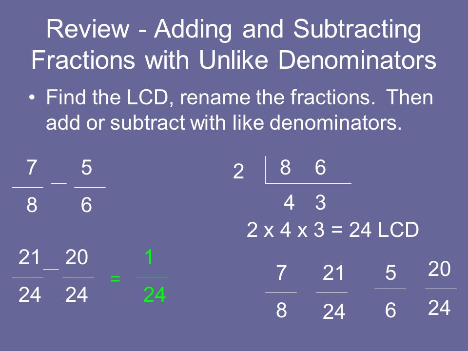 Review - Adding and Subtracting Fractions with Unlike Denominators