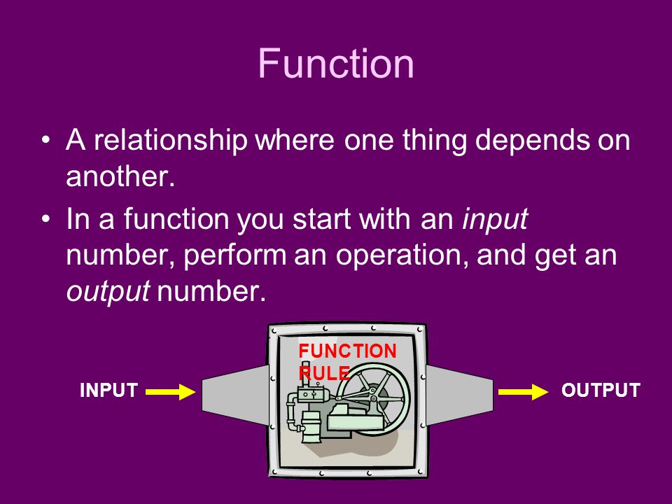 Function A relationship where one thing depends on another.