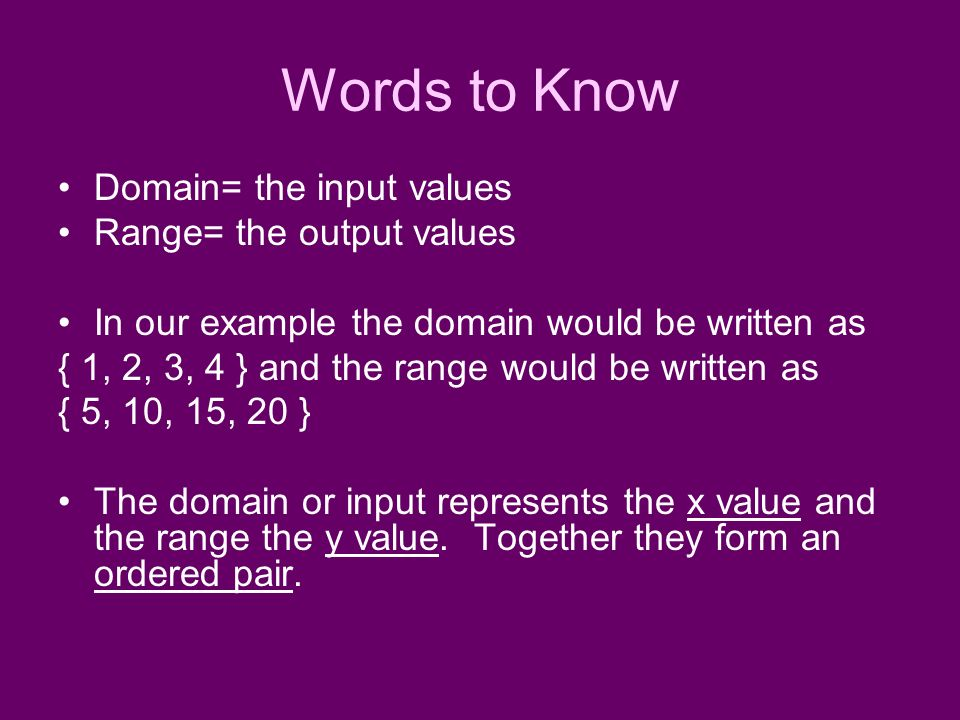 Words to Know Domain= the input values Range= the output values