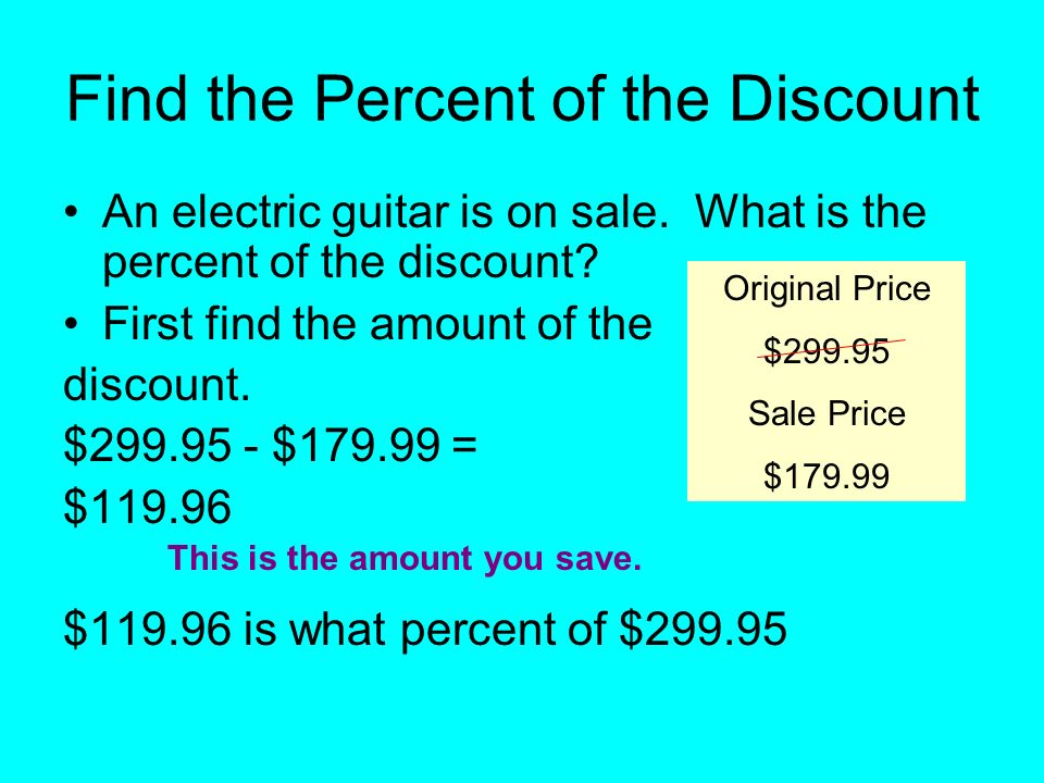 Find the Percent of the Discount