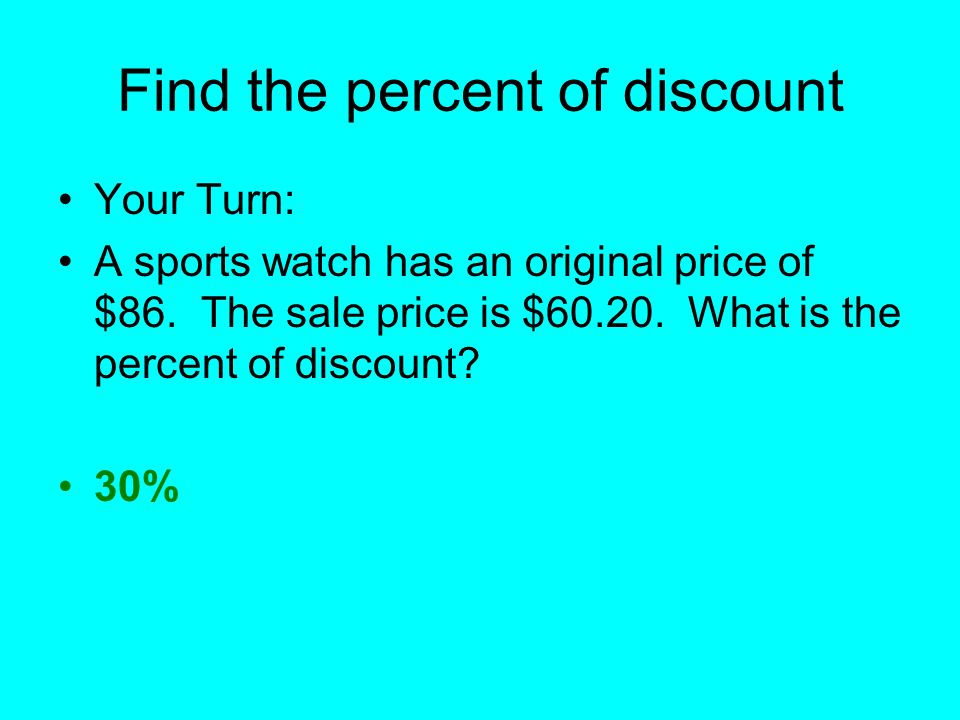 Find the percent of discount