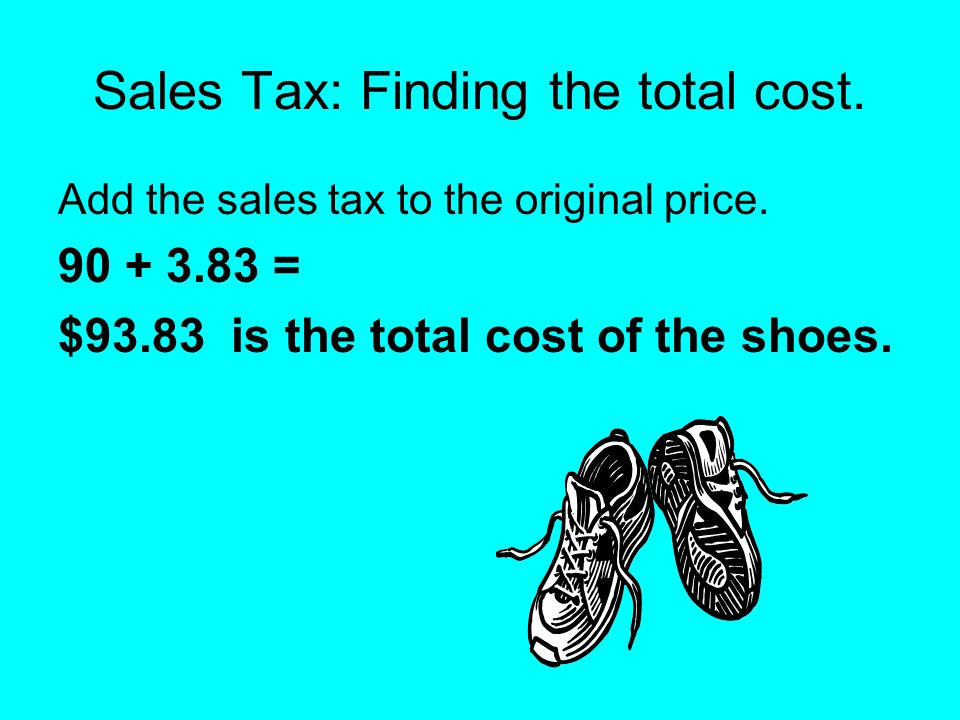 Sales Tax: Finding the total cost.