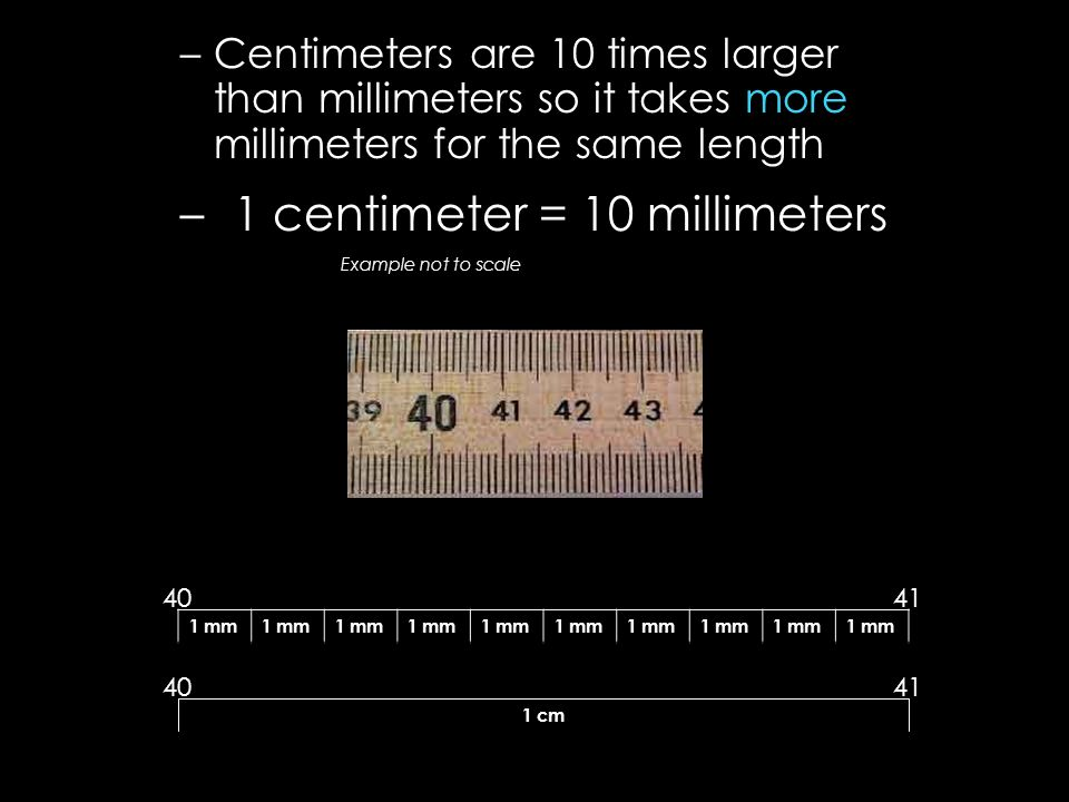 1 centimeter = 10 millimeters