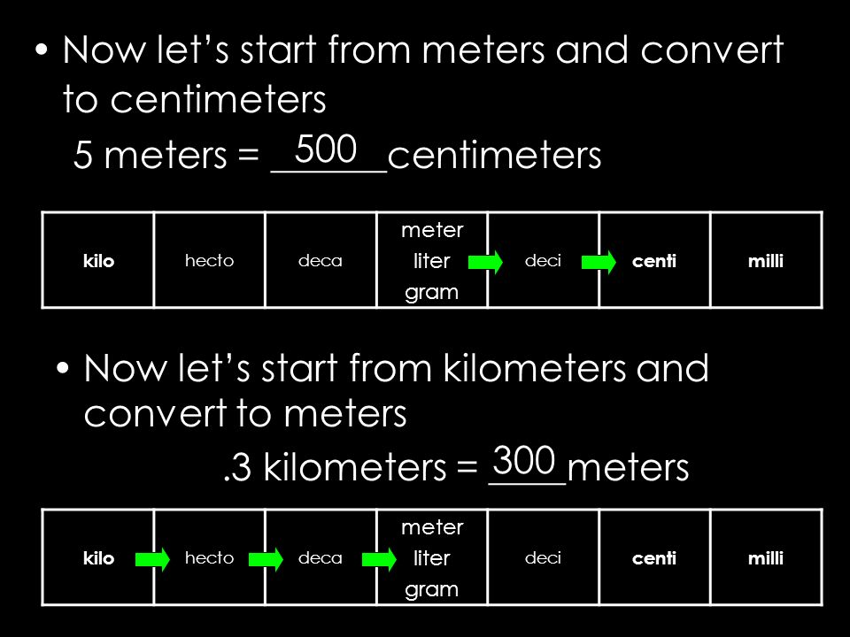 Now let's start from meters and convert to centimeters
