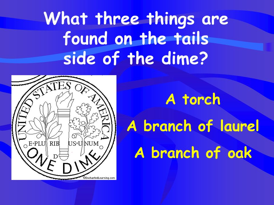 What three things are found on the tails side of the dime