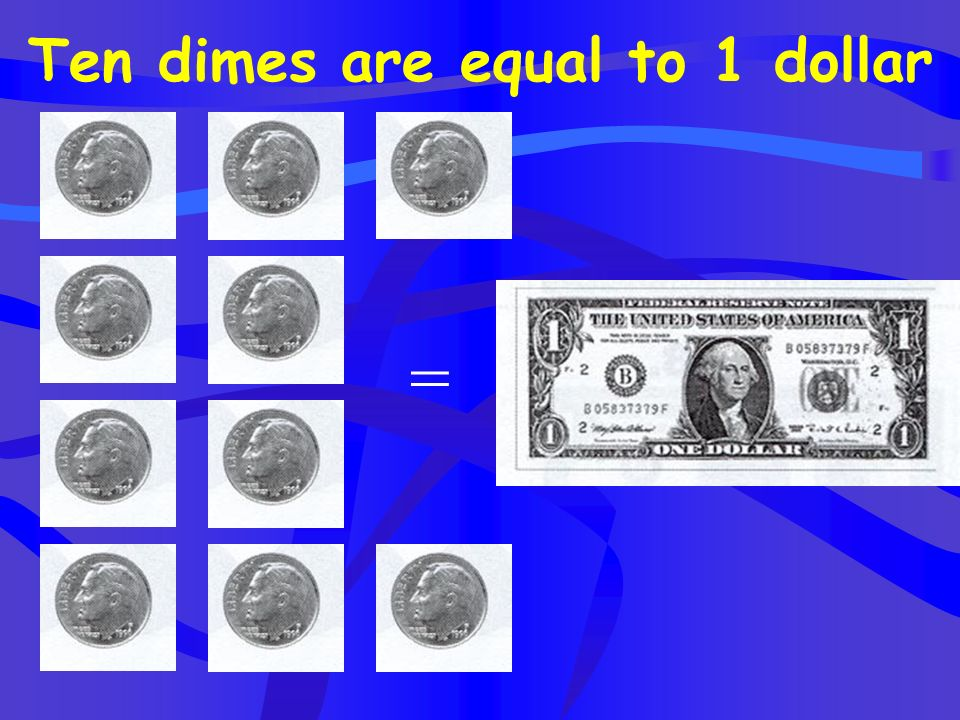 Ten dimes are equal to 1 dollar