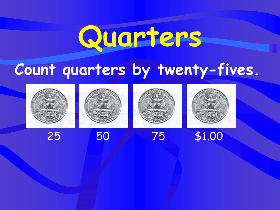 Quarters Count quarters by twenty-fives. 25 50 75 $1.00