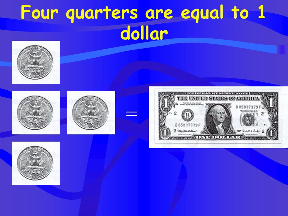 Four quarters are equal to 1 dollar