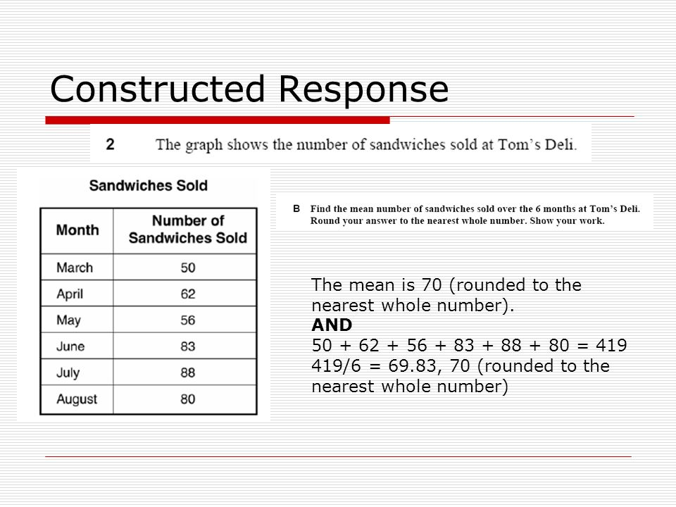 Constructed Response The mean is 70 (rounded to the nearest whole number). AND. 50 + 62 + 56 + 83 + 88 + 80 = 419.