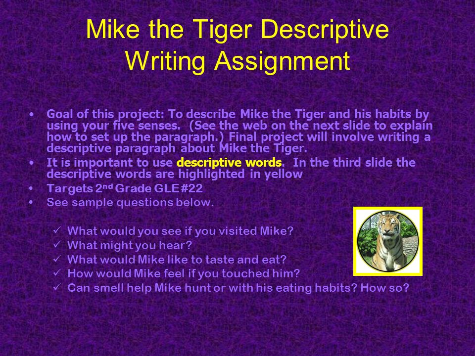 Mike the Tiger Descriptive Writing Assignment