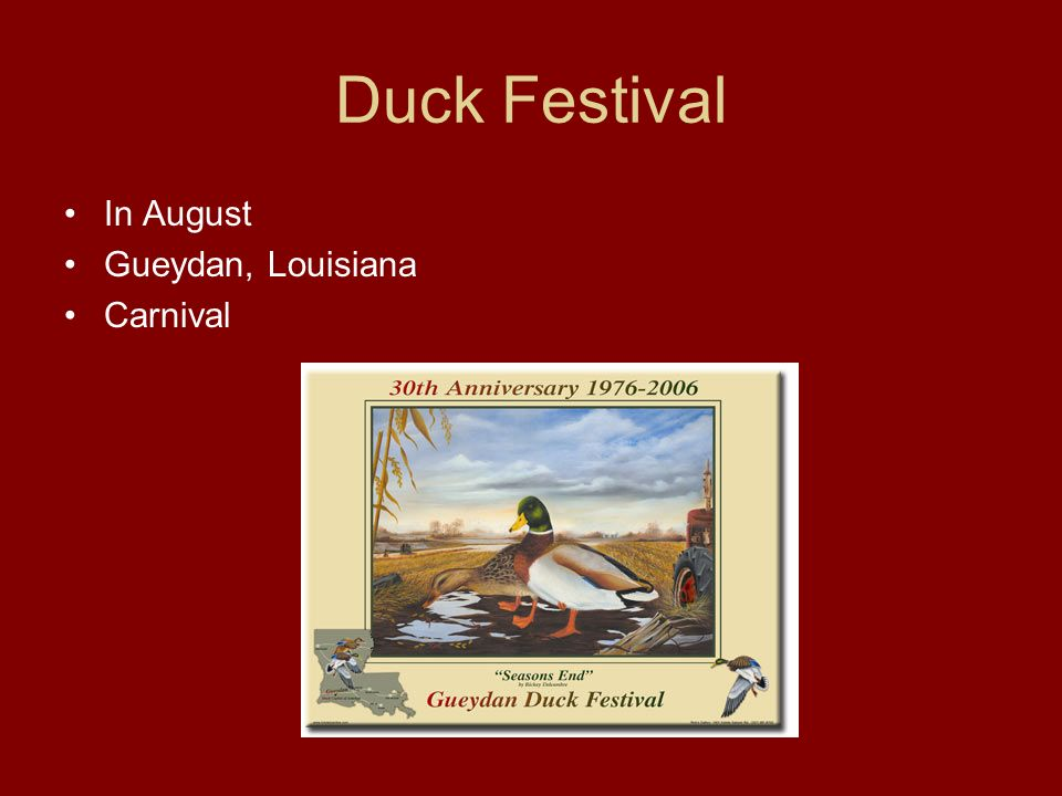Duck Festival In August Gueydan, Louisiana Carnival